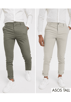 ASOS DESIGN Tall 2 pack skinny chinos in khaki & beige save-Multi