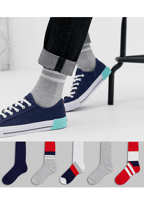 ASOS DESIGN 5 pack ankle socks in red and navy pattern save-Multi