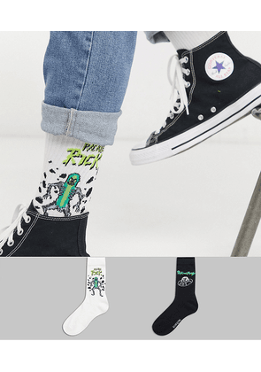 ASOS DESIGN sport sock with pickle rick and spaceship print 2 pack-Multi