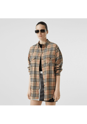 Burberry Vintage Check Cotton Flannel Oversized Shirt, Beige
