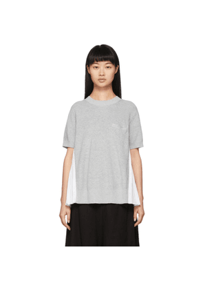 Sacai Grey and White Knit Pullover Sweater