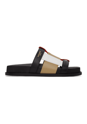 Burberry Black and Beige Ellendale Flat Sandals