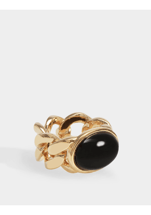 Bronx Ring in Gold-Plated Brass and Black Onyx