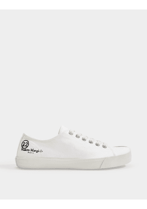 Tabi Low Top Sneakers in White Canvas
