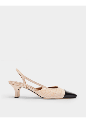 Slingbacks in Beige and Black Croc Embossed Leather