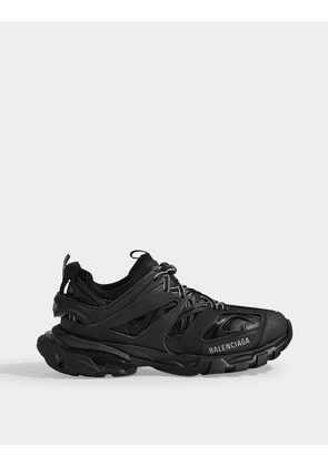 Track Trainers in Black Mesh and Nylon
