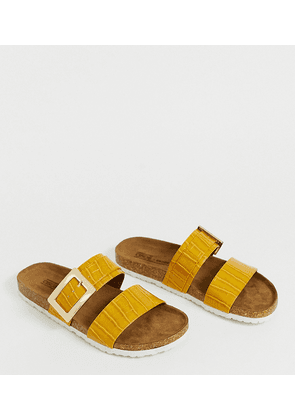 ASOS DESIGN Wide Fit Fool For You sliders in mustard croc-Yellow