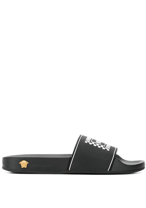 Versace logo pool slides - Black