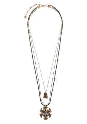 Alexander McQueen rose charm seal necklace - GOLD