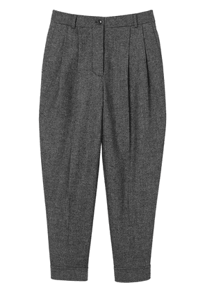 Burberry Belt Detail Wool Cashmere Tweed Tailored Trousers - Grey