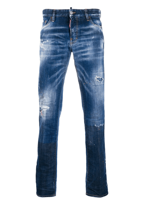 Dsquared2 distressed detail painted effect jeans - Blue