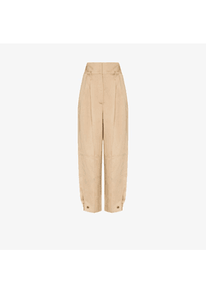 Givenchy Womens Neutrals Wide Leg Pleated Trousers