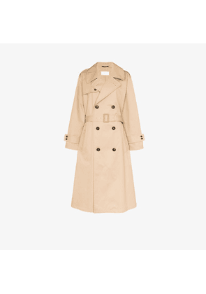 Maison Margiela Womens Brown Collared Cotton Trench Coat