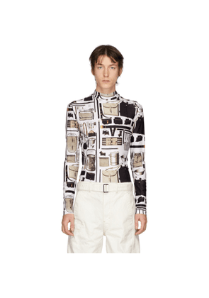 Linder White Printed Stephen Turtleneck