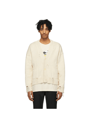 Rhude Off-White and Red Knit Logo Cardigan