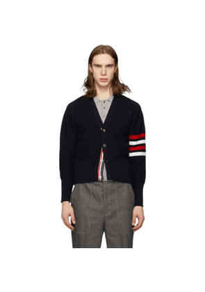 Thom Browne Navy Wool Diagonal Stitch 4-Bar V-Neck Cardigan