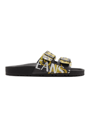 Versace Jeans Couture Black and Yellow Barocco Straps Sandals