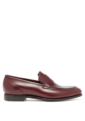 Crockett & Jones - Lucy Patinated-leather Penny Loafers - Womens - Burgundy