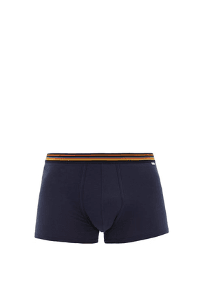 Paul Smith - Striped-waistband Pima-cotton Jersey Boxer Briefs - Mens - Navy