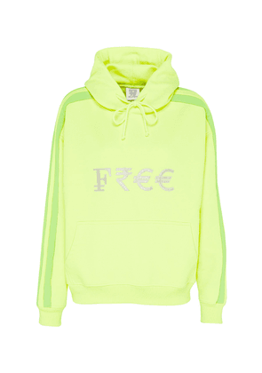 'Free' silver-toned embroidered slogan currency hoodie