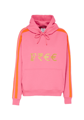 'Free' gold-toned embroidered slogan currency hoodie