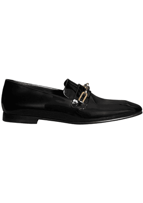 Burberry Link Detail Patent Leather Loafers - Black