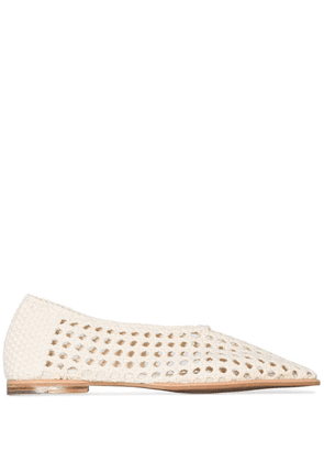 Low Classic woven-style ballerina shoes - White