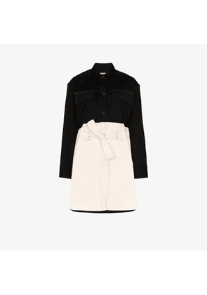 Zilver Two tone belted shirt dress