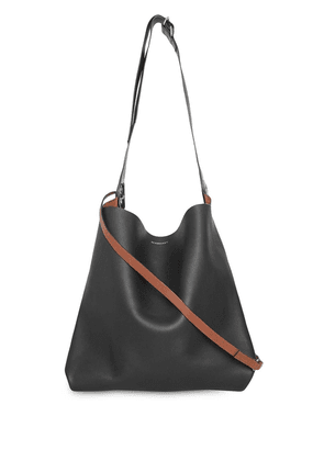 Burberry The Leather Grommet Detail Bag - Black