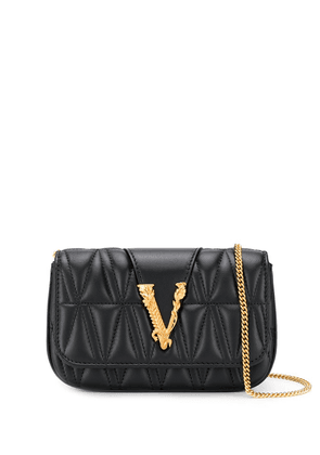 Versace logo plaque mini cross body bag - Black