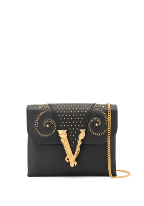 Versace logo plaque shoulder bag - Black