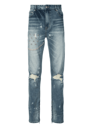 God's Masterful Children ripped embroidered slim-fit jeans - Blue