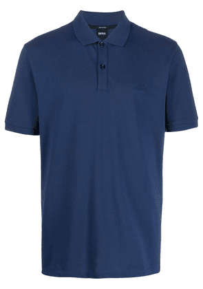 BOSS logo embroidered polo shirt - Blue