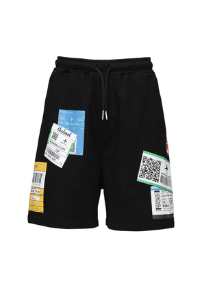Ticket Printed Cotton Shorts
