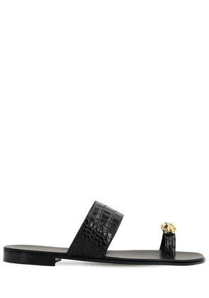 Lion Croc Embossed Leather Sandals