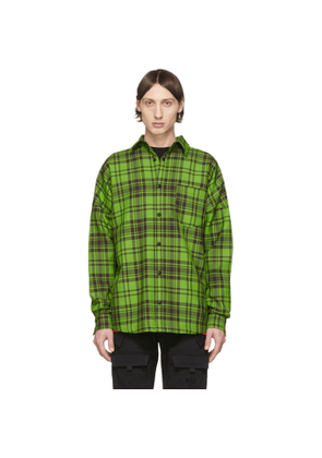 Palm Angels Green and Black Check Logo Overshirt