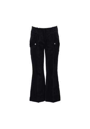 Navy blue cropped bootflare pants with pockets