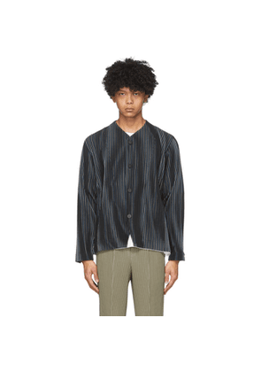 Homme Plisse Issey Miyake Navy Striped Tailored Line Jacket