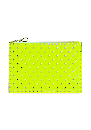 Valentino Large Rockstud Spike Flat Pouch in Lime - Yellow. Size all.