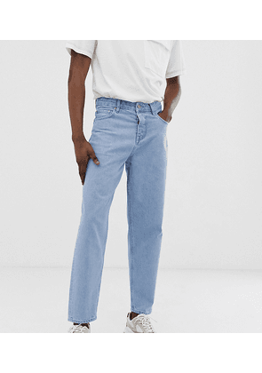 ASOS WHITE Tall tapered jeans in 14oz light wash denim-Blue