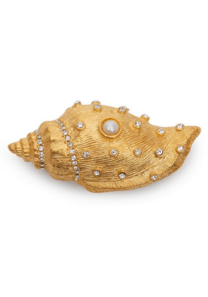Gold-Plated Crystal and Faux Pearl Shell Brooch