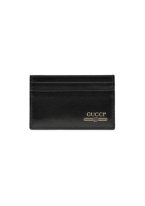 Leather card case with Gucci logo
