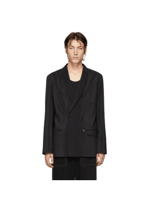 Lemaire Black Dry Silk Double-Breasted Blazer