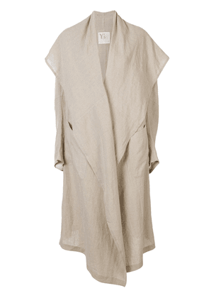 Y's oversized linen coat - NEUTRALS