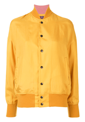 Y's silk angel print bomber jacket - Yellow