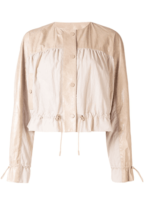 Drome geometric-panelled bomber jacket - NEUTRALS
