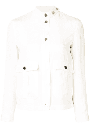 Kiton stand collar silk jacket - White