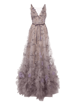 Marchesa tulle embroidered floral gown - PINK