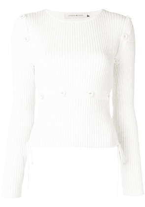 Christopher Esber button-embellished ribbed knit top - White