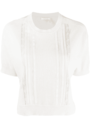 Chloé ribbed panel knit top - White